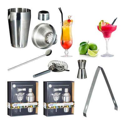 relaxdays Cocktail Shaker »2 x Cocktailset Edelstahl 5-teilig«, Edelstahl