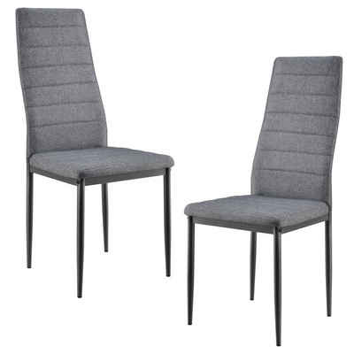 en.casa Hochlehner (Set, 2 Stück), »Lidköping« Polsterstuhl Küchenstuhl Textil grau