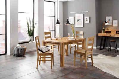 Home affaire Essgruppe »Nils 6«, (Set, 5-tlg., Tisch 140/90 cm, 4 Stühle, Holzsitz), aus Massivholz