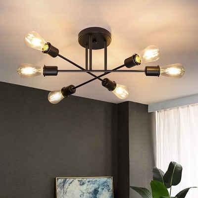 ZMH Deckenleuchte »Deckenlampe Vintage 6 Flammig Wohnzimmer E27 Kronleuchter Schwarze Schlafzimmerlampe Retro Esstischlampe Industriell Rustikal«
