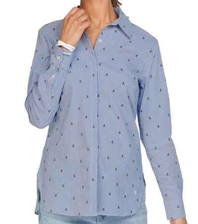 Olsen Hemdbluse »olsen Streifen-Bluse klassische Damen Hemd-Bluse mit verdeckter Knopfleiste Business-Bluse Blau«