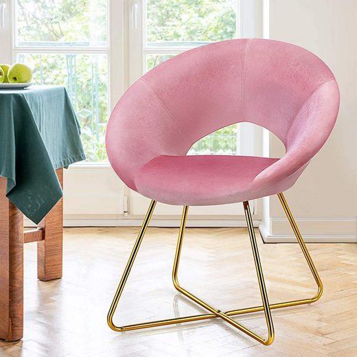COSTWAY Sessel »Polstersessel«, olstersessel mit Metallbeinen, Schminktisch Stuhl bis 120kg belastbar, Wohnzimmerstuhl Smat