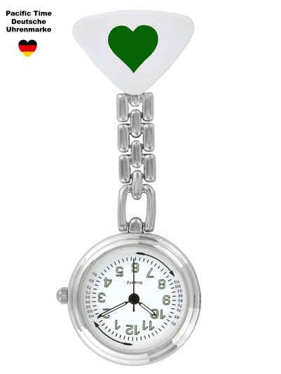 Pacific Time Krankenpflegeuhr »Schwesternuhr Krankenschwesteruhr Pulsuhr Kitteluhr Pflegeuhr Nurse Watch Herz grün 20026«, nachtleuchtende Zeiger und Pulsskala -- Kostenloser Versand
