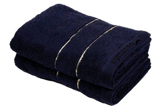 Aymando Handtuch Set »Dubai Kollektion« (Spar Set, 2-tlg), luxuriöse Verarbeitung Qualität aus 100% bester ägyptischer premium Baumwolle (GIZA 86) 50x100cm 600 g/m², Dark Blue-Gold
