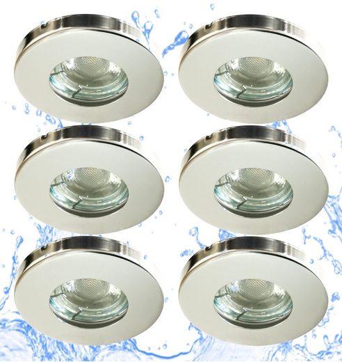 TRANGO LED Einbauleuchte, 6er Set IP44 LED Einbaustrahler 6729IP-068M6KSD aus Edelstahl poliert incl. 6x 5 Watt 6000K Tageslichtweiß (kaltwei) dimmbar Ultra Flach LED Modul für Bad, Dusche, Einbauspots, Deckenstrahler, Deckenlampe