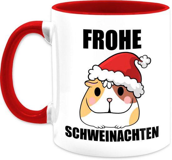 Shirtracer Tasse »Frohe Schweinachten mit Meerschweinchen - Kaffeetasse mit Spruch - Tasse zweifarbig«, Keramik, Statement Teetasse