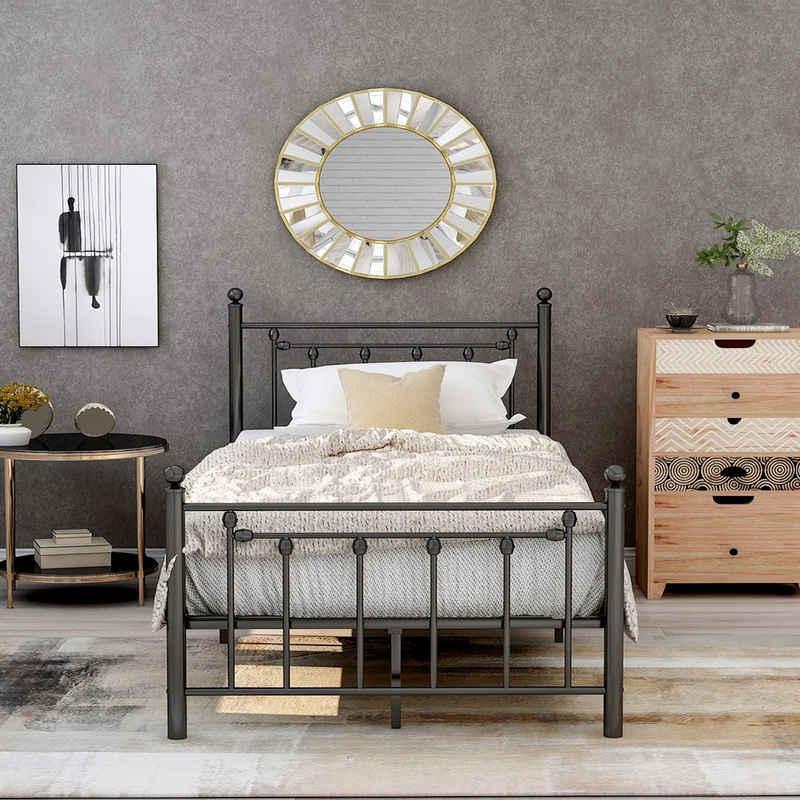 Merax Metallbett »FRIG«, Einzelbett Jugendbett, Hochwertiger Metallbettrahmen mit Kopf- und Fußteil
