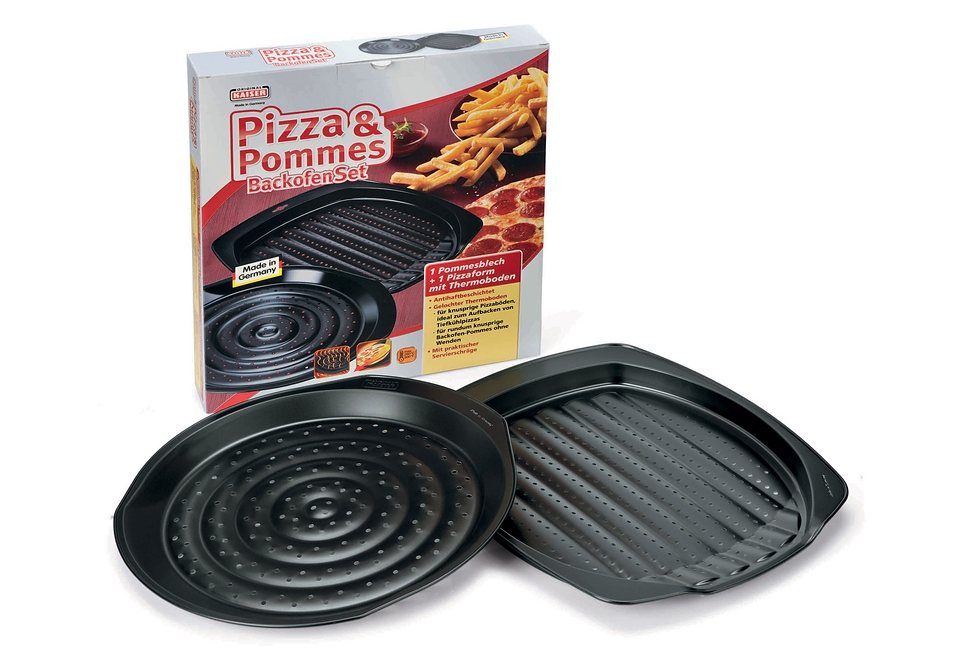 Pizza und Pommes Backofen-Set, Kaiser, Made in Germany (2tlg.) in schwarz