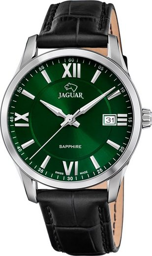 Jaguar Chronograph »UJ883/3 Jaguar Herren Armbanduhr ACM«, (Analoguhr), Herrenuhr rund, groß (ca. 40mm), Edelstahl, Lederarmband, Sport-Style