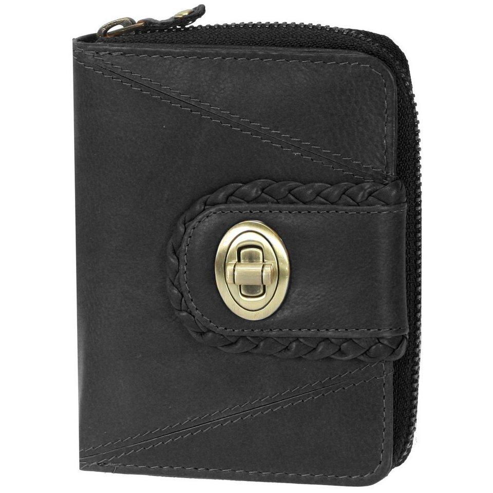 Mika Lederwaren Geldbörse Leder 9,5 cm in schwarz