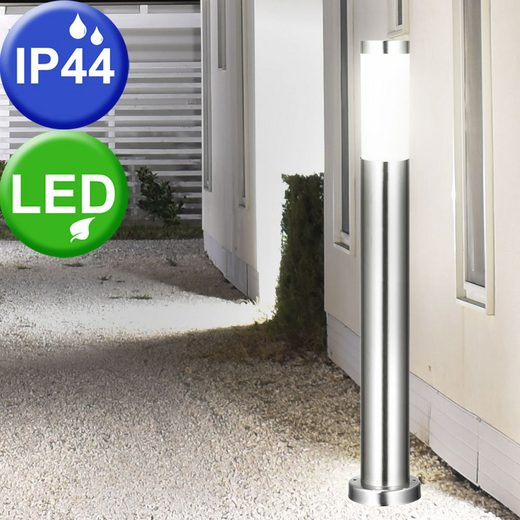 etc-shop LED Außen-Stehlampe, Außen Stand Lampe Terrasse Balkon Edelstahl Beleuchtung 1-flg A+ im Set inklusive LED Leuchtmittel