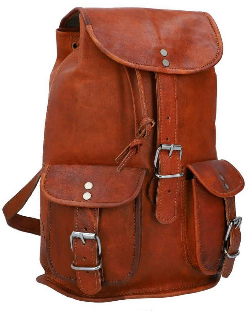 Gusti Leder Cityrucksack »Gary 9,7''«, Rucksack Cityrucksack Lederrucksack Vintage Damen Braun Leder