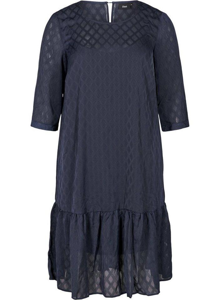 zizzi -  Abendkleid Große Größen Damen Kleid mit 3/4 Ärmeln und Rundhals