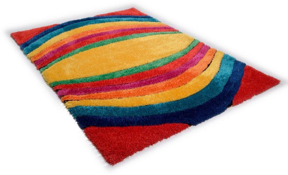 Hochflor-Teppich, Tom Tailor, »Soft Funky«, Höhe ca. 40mm, handgetuftet, Hoch-Tief-Effekt in multi
