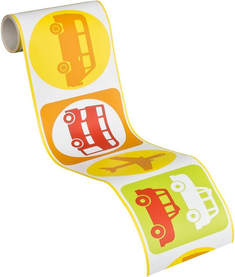 Bordüre, Livingwalls, »Kids Party - Traffic« in weiß-hellblau-hellgrün-rot-gelb-orange-signalgrau
