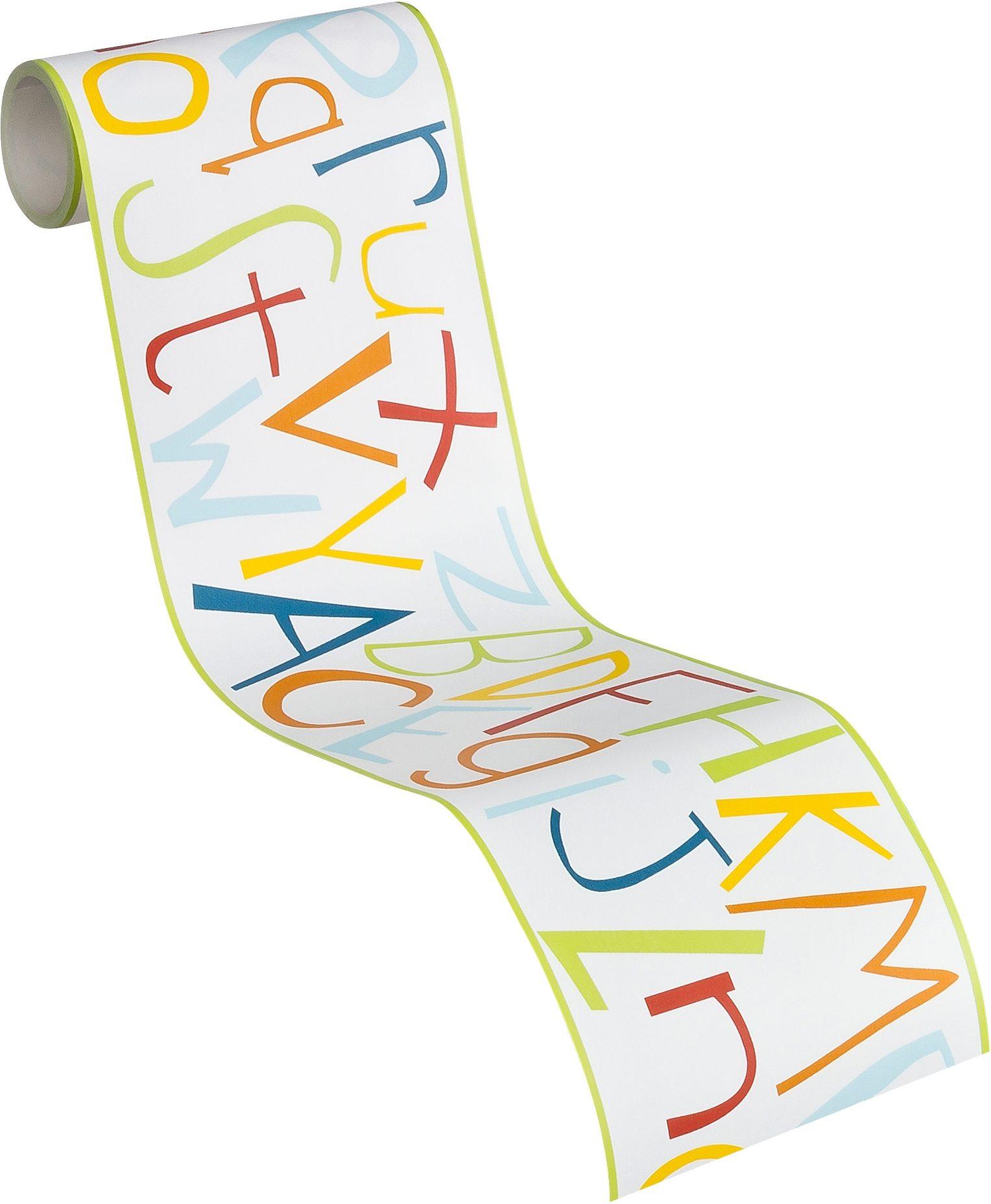 selbstklebende Bordüre, Livingwalls, »Kids Party - Buchstabenpuzzle«