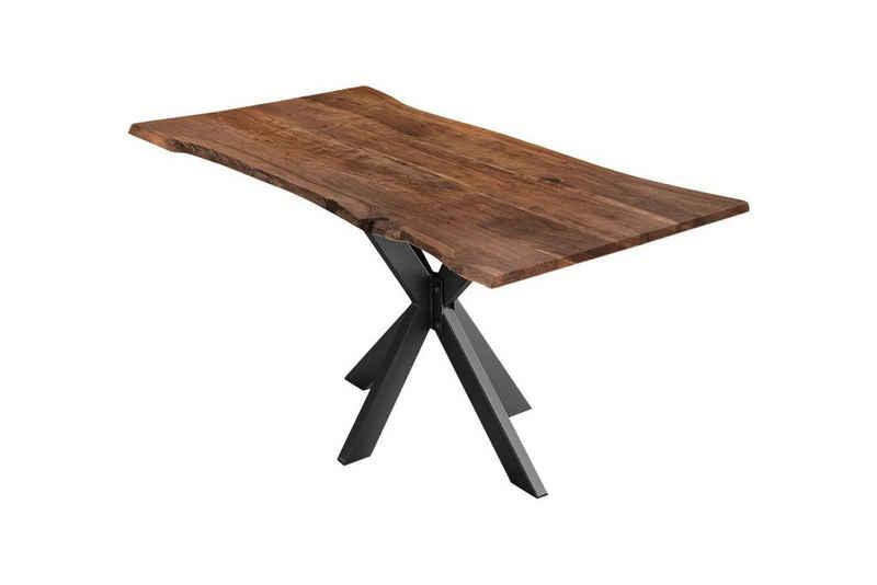 SAM® Esstisch »Harbor«, Baumkante Tisch massiv nussbaumfarben Akazie Spider-Gestell