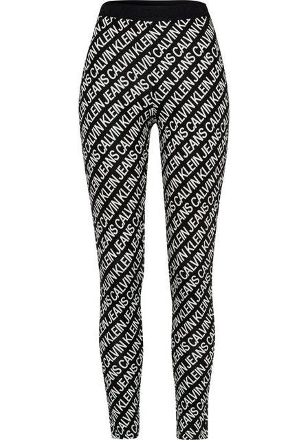 Hosen - Calvin Klein Jeans Leggings »MILANO AOP LOGO ELASTIC LEGGING« mit Allover Logoprint in Kontrast ›  - Onlineshop OTTO