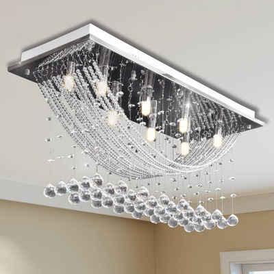 vidaXL Deckenleuchten »Weiße Deckenlampe mit funkelnden Glasperlen 8 x G9 29 cm«