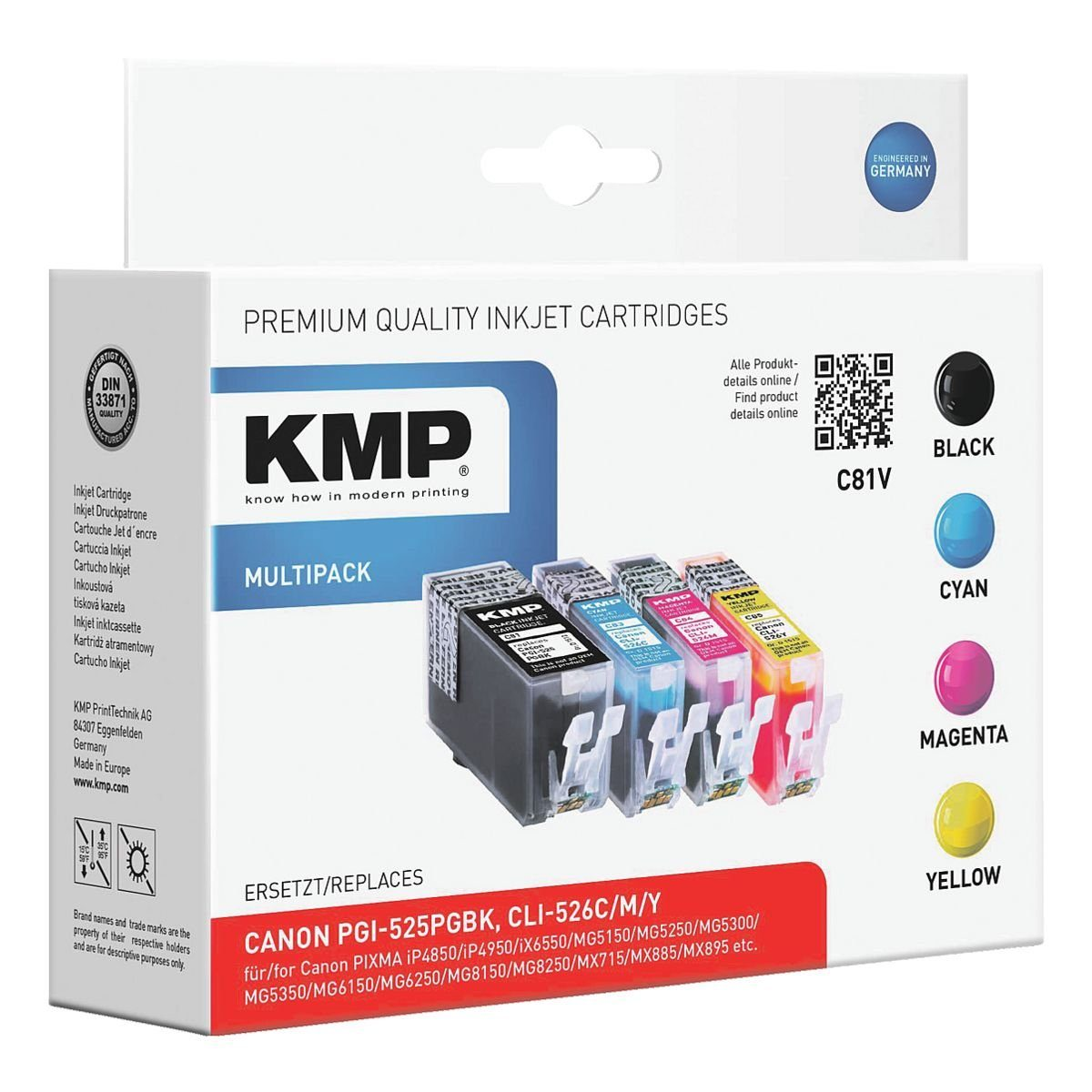 KMP Tintenpatronen-Set ersetzt Canon »PGI-525PGBK/CLI-526C/M...