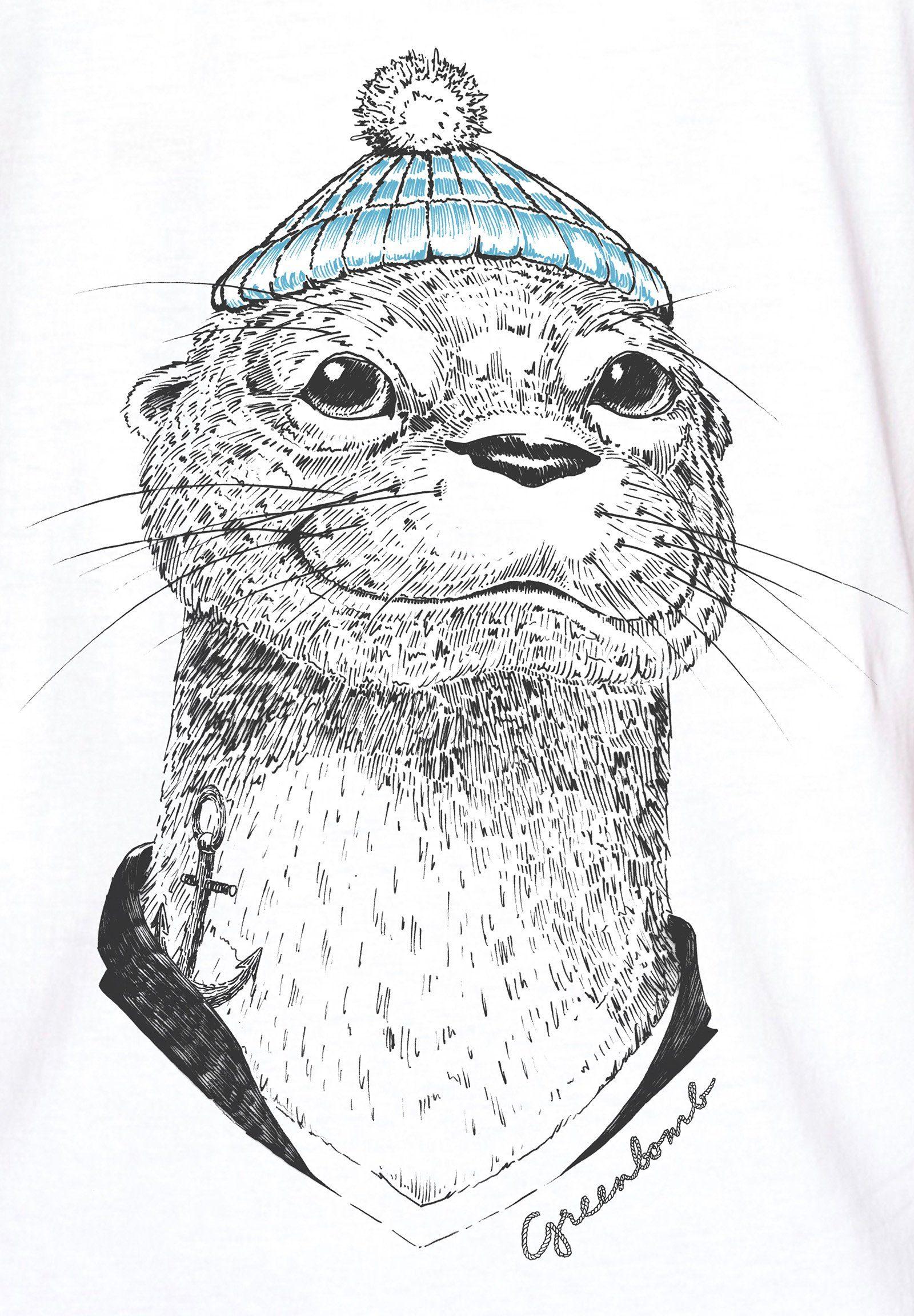GreenBomb T-Shirt Animal Otter Guide, Medium Fit