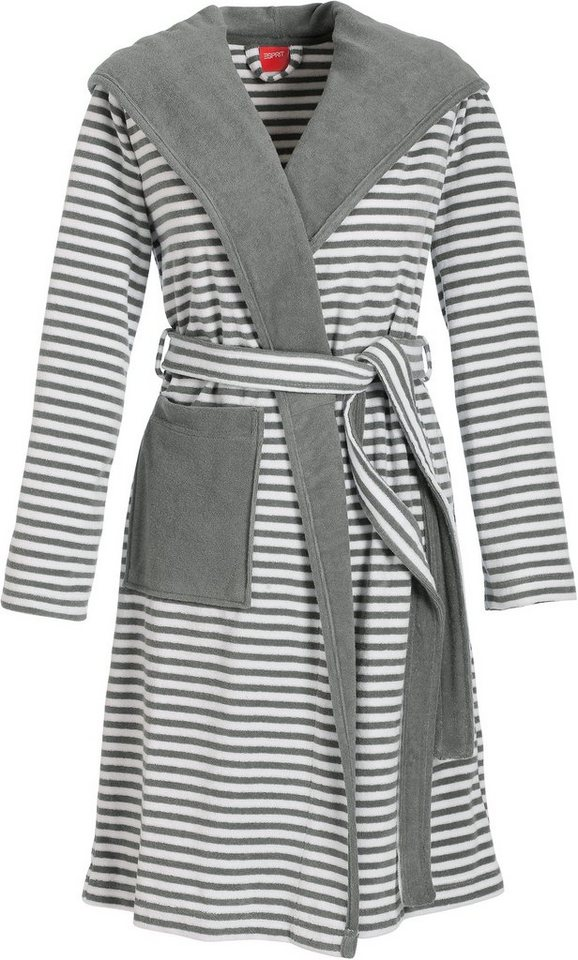 unisex bademantel esprit striped hoodie mit streifen online kaufen otto. Black Bedroom Furniture Sets. Home Design Ideas