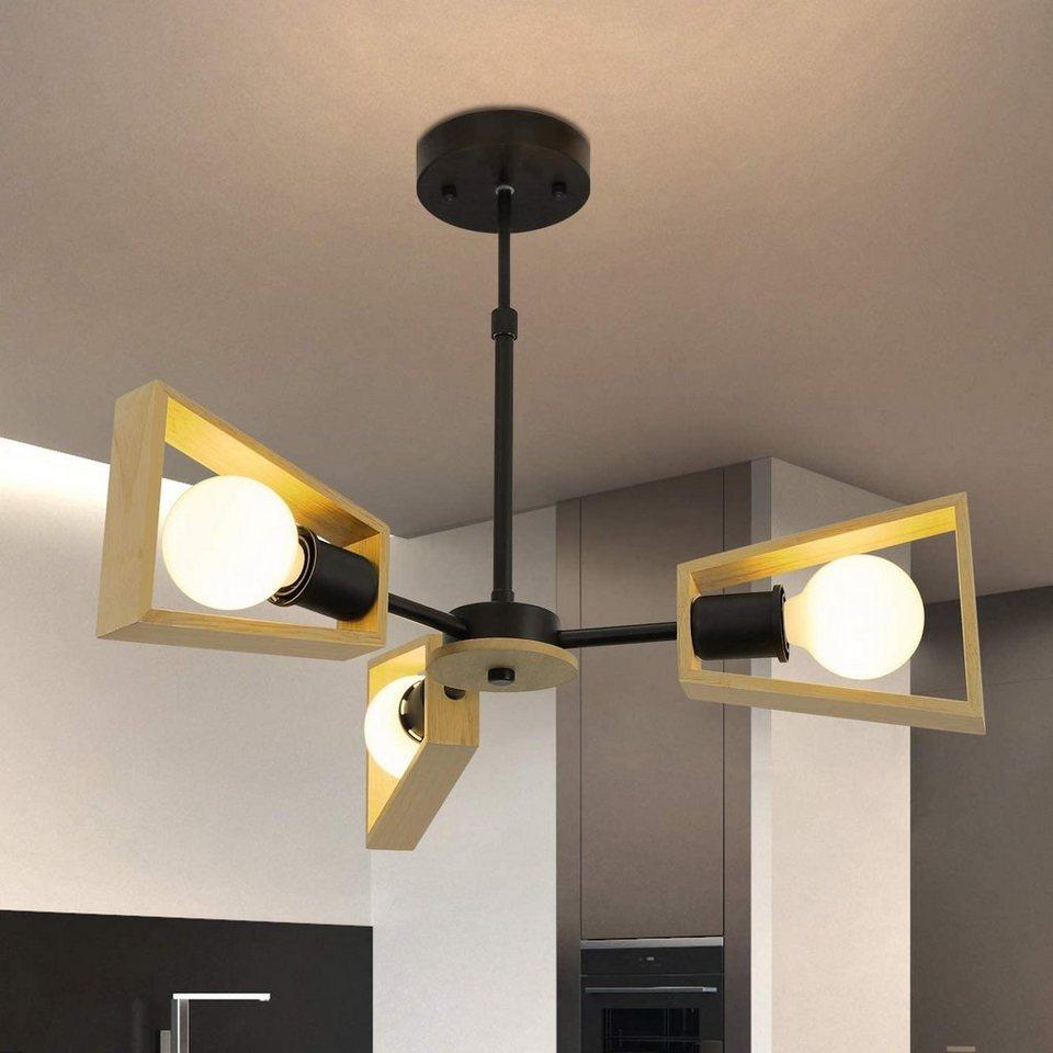 ZMH Deckenleuchte »Holz rustikal Wohnzimmerlampe E3 Deckenlampe  Höhenverstellbare Deckenbeleuchtung für Wohnzimmer Schlafzimmer  Kinderzimmer