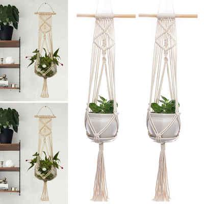 Masbekte Dekohänger, Makramee Blumenampel Blumentöpfe zum Aufhängen Pflanzenhalter Mit Holzhalter