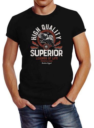 Neverless Print-Shirt »Herren T-Shirt Fashion vintage Print Superior Legends of Life Eagle Slim Fit Neverless®« mit Print