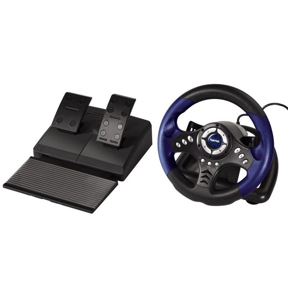 hama pc lenkrad racing wheel thunder v18 mit pedale 180. Black Bedroom Furniture Sets. Home Design Ideas