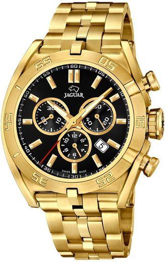 Jaguar Chronograph »UJ853/4 Jaguar Herren Uhr Sport J853/4 Edelstahl«, (Chronograph), Herren Armbanduhr rund, extra groß (ca. 46mm), Edelstahlarmband gold
