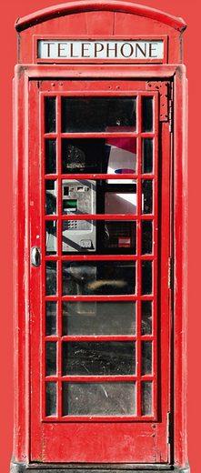 Fototapete »Türtapete 2.0 Motiv Telephone«, 3D-Optik, realistisch, Motiv, urban, Stadt, glatt