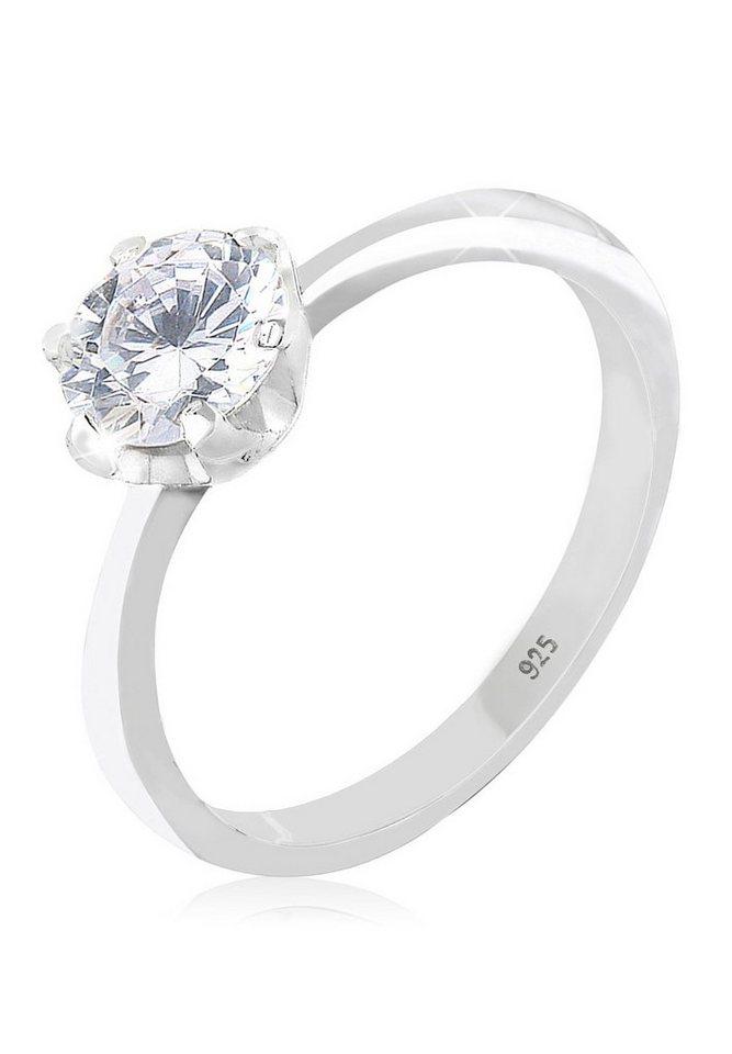 Elli Ring »Solitärring Zirkonia 925 Silber« in Weiß