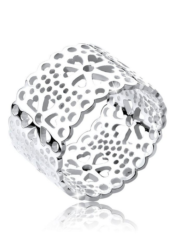 Elli Ring »Blume Ornament Cut Out 925 Silber« in Silber