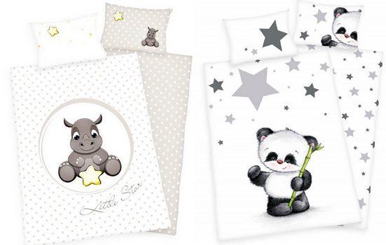 Babybettwäsche »Nashorn und Panda - 2 x Baby-Bettwäsche-Set mit Wendemotiv von Herding, 100x135 & 40x60 cm«, Baby Best, 100% Baumwolle