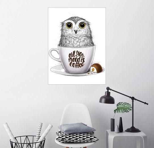 Posterlounge Wandbild, Owl you need is coffee