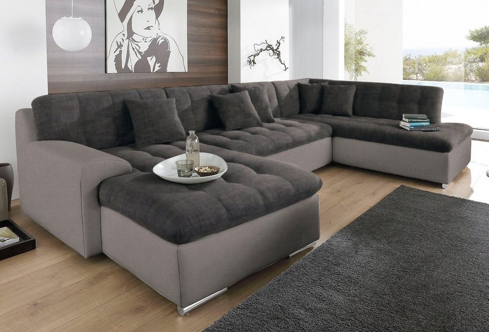 trendmanufaktur wohnlandschaft wahlweise mit bettfunktion. Black Bedroom Furniture Sets. Home Design Ideas