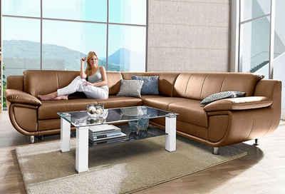 TRENDMANUFAKTUR Ecksofa, wahlweise mit Bettfunktion, mit extra breiten Armlehnen, frei im Raum stellbar