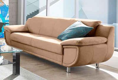 TRENDMANUFAKTUR 3-Sitzer, wahlweise mit komfortablem Federkern, mit extra breiten Armlehnen, frei im Raum stellbar
