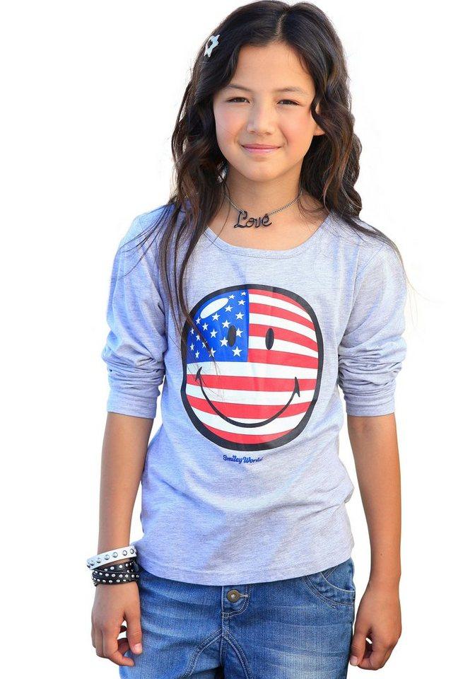 Smiley Langarmshirt, für Mädchen in Grau-Meliert