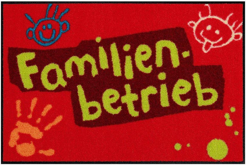 Fußmatte, Salonloewe, »Familienbetrieb« in rot