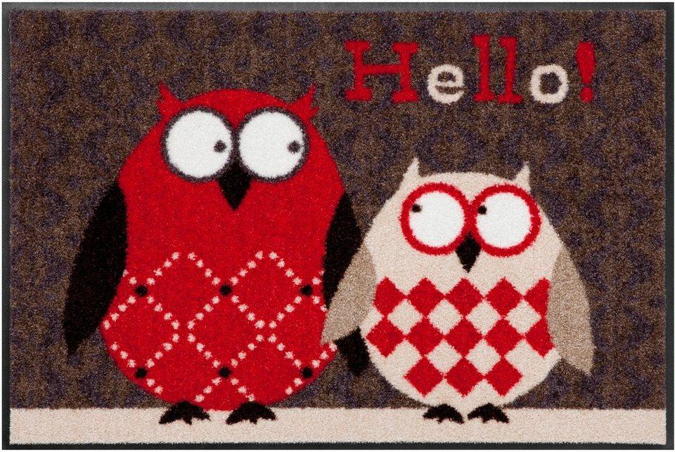 Fußmatte, Salonloewe, »Eulen Lars & Lotte« in rot