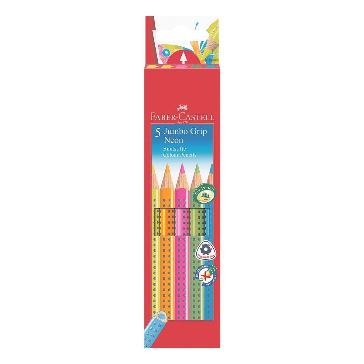 Faber-Castell 5er-Etui Buntstifte »Jumbo GRIP Neon«