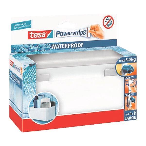 Tesa Badezimmerkorb/ Regal Eckig »Powerstrips Waterproof«