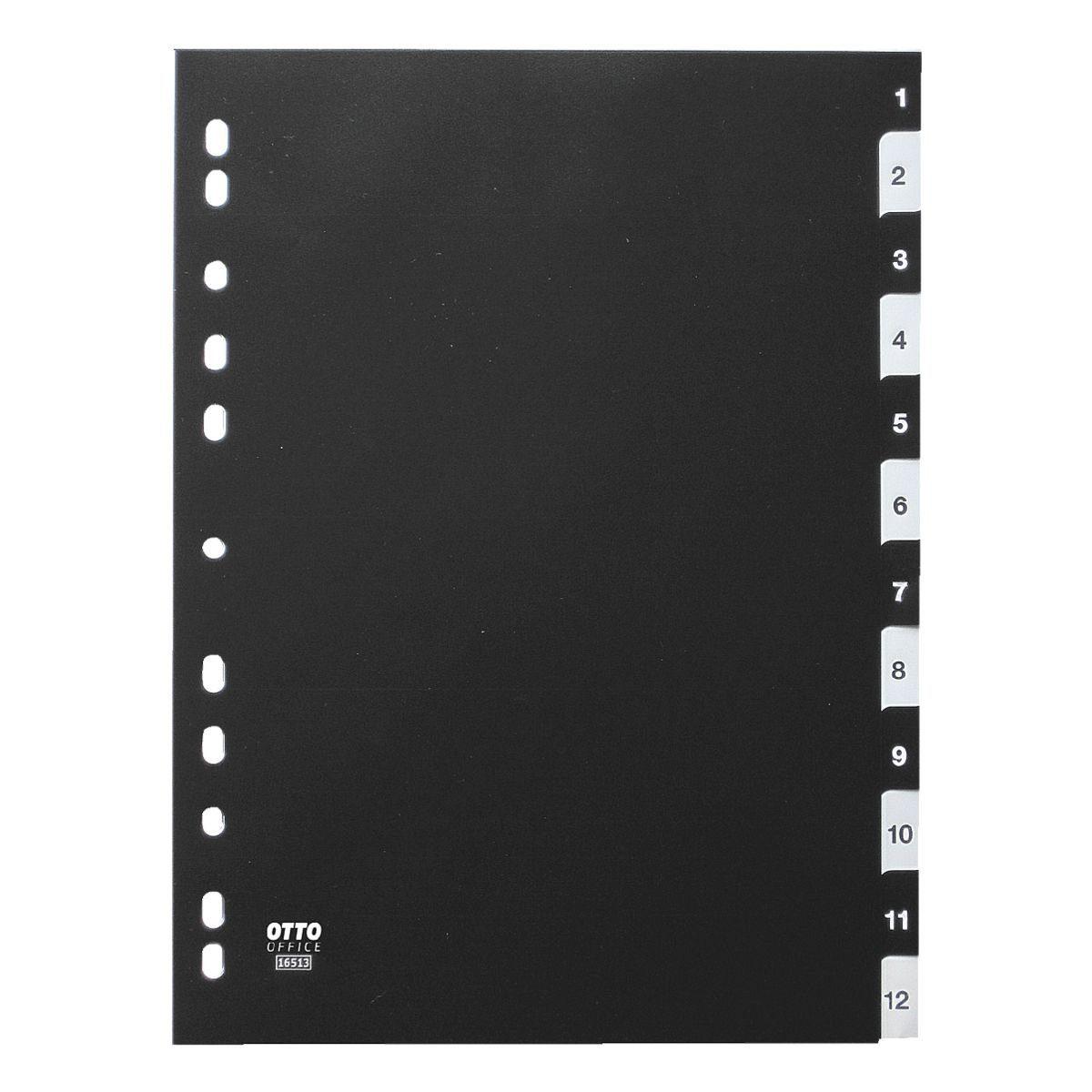 OTTOOFFICE STANDARD Kunststoffregister 1-12 A4 schwarz-weiß