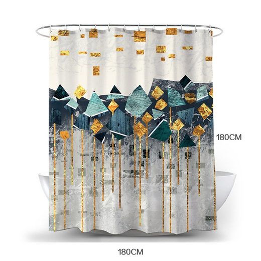 Masbekte Duschvorhang Breite 180 cm, Geometrischer Druck Badewannenvorhang, Moderne