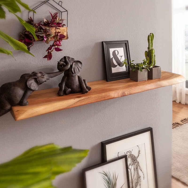 FINEBUY Wandregal »SuVa18480_1«, mit Baumkante Akazie Massivholz Unbehandelt Design Schweberegal Wandboard Massiv Regal Holz Natur Landhausstil Hängeregal