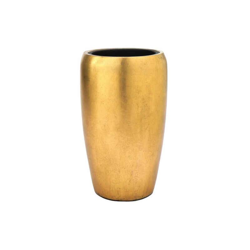 Flingora Bodenvase »Gloria«, mit Einsatz - Fiberglas Pflanzvase - Indoor - Metallisch Gold - Höhe 51 cm / Ø 32 cm