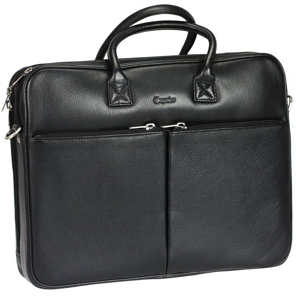 Esquire Courier Laptoptasche Leder 38 cm in black
