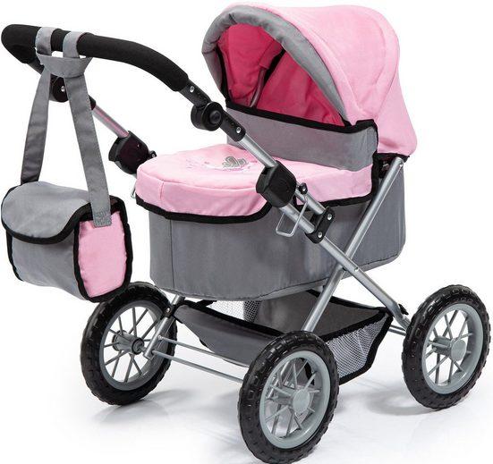 Bayer Puppenwagen »Trendy, grau/rosa«, mit Wickeltasche